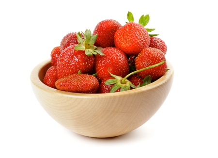 Fresh Ripe Perfect Strawberriy in wooden bowl isolated on white background Stock Photo - 14408190