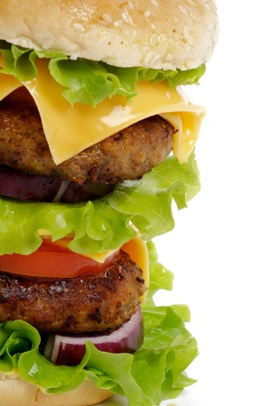 Tasty Double Cheeseburger with beef, tomato, letucce and cheese closeup clipping path Foto de archivo