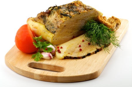Homemade Roast Pork with Dill, Parsley, Garlic and Tomato on wooden cutting Board Stock Photo - 14585330