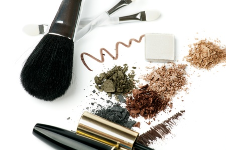Make up Brushes, Eyeliner, Mineral Eyeshadow and Mascara isolated on white background photo