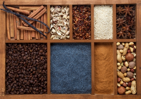 Background of Spicy Spices with Cinnamon, Vanil, Cinnamon Sticks, Coffee Beans, Poppy Seed, Sesame, Lemongrass, Anise Stars, Dried Haw and Various Nuts photo