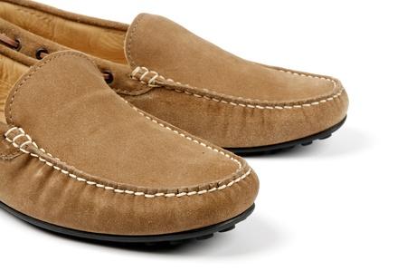 men s boot: Details of Beige Chamois Leather Men