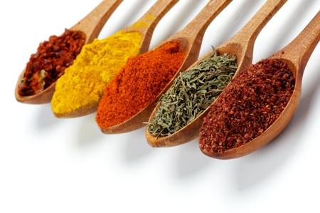 Anordnung von Spicy Spices mit Ground Sumach, Oregano, Paprikapulver, Curry und Crushed Chili in Holzlöffel isoliert auf weißem Hintergrund