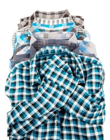long sleeved: Stack of Plaid Long Sleeved Men Stock Photo