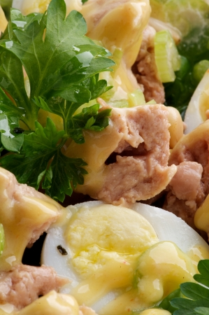 cod liver: Background of Delicious Salad with Cod Liver, Quail Eggs and Parsley closeup