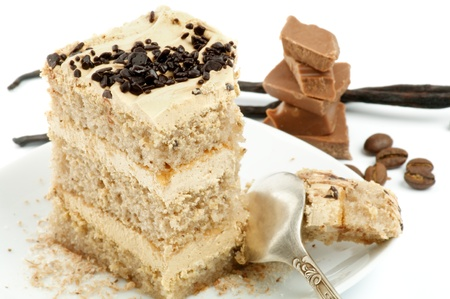 rum cake: Rum Torta di crema con cioccolato e vaniglia primo piano sul piatto bianco