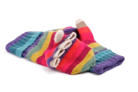 d2a27b9c70c  16155853 - Multi Colored Wool Gloves with Fingers isolated on white  background