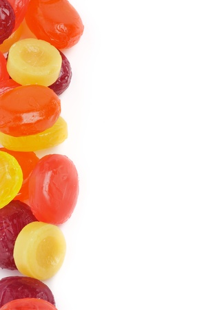Frame of Multi Coloured Fruit Drops isolated on white background Stock Photo - 16155840