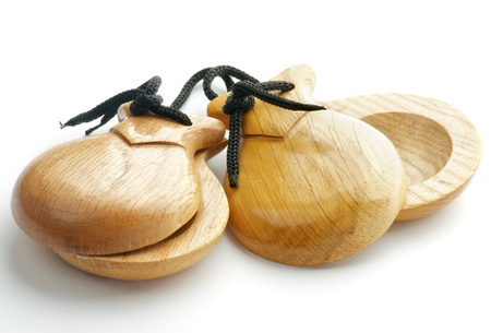 Simple Wooden Castanets isolated on white background