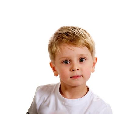 Portrait of Little Blond Boy in White T-Shirt on white background