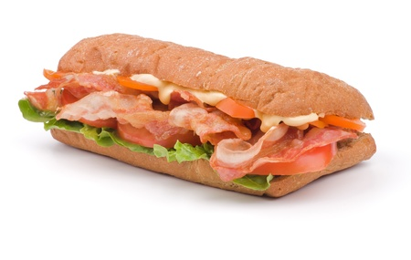 panini: Big Ciabatta Sandwich with Bacon, Lettuce, Tomato, Cheese and Sauces isolated on white background