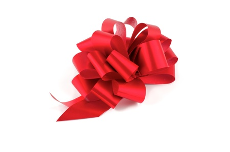 Big Red Glossy Gift Bow isolated on white background Foto de archivo