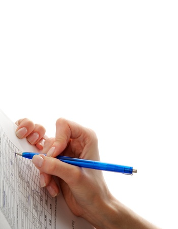 Female Writing Notes in Report closeup on white background Stock Photo - 17347007