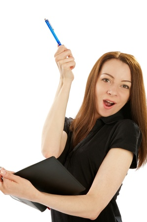 Young Attractive Business Woman with Pen and Organizer in her Hand Exclaims Stock Photo - 17590270