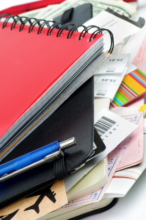 Arrangement of Travel Concept Objects with Planning, Tickets, Currency, Pen and Other Accessories closeup Stock Photo - 17891692