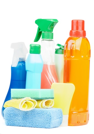 disinfectant: Arrangement of Cleaning Products with Spray Bottles, Disinfectant and Sponges isolated on white background Stock Photo