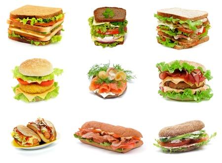 Collection mit Ciabatta Sandwich, Big Turkey Meat Sandwich, Lachs Sandwich, Schinken-Sandwich, Double Cheeseburger, Sausage Sandwich, Zwei Hot Dogs, Bacon Burger und Salchichone Sandwich isoliert auf weißem Hintergrund