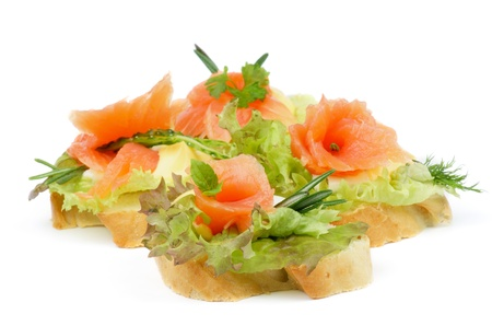 Arrangement of Delicious Smoked Salmon Appetizers with Lettuce, Rosemary, Cucumber and Cheese Sauce isolated on white background Stock Photo - 18307045