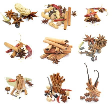 flavorings: Collections of Spices with Cinnamon Sticks, Anise Stars, Peppercorn, Chili Peppers, Vanilla, Various Dried Nuts and Some Scented Pods isolated on white background Stock Photo