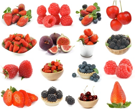 Collection of Berries with Strawberry, Raspberry, Cherry, Blackberry, Blueberry and Figs isolated on white background