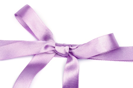 Lilac Satin Bow isolated on white background photo