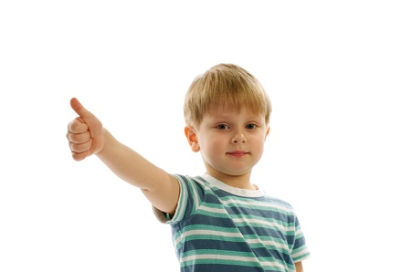Little Blonde Boy with Thumbs in Stripped Shirt up on white background photo