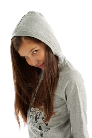 hooded shirt: Girl Teen with Long Brown Hair in Casual Gray Hooded Sweatshirt on white background