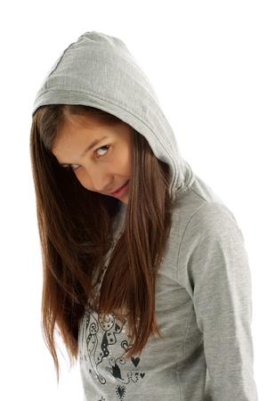 hooded sweatshirt: Girl Teen with Long Brown Hair in Casual Gray Hooded Sweatshirt on white background