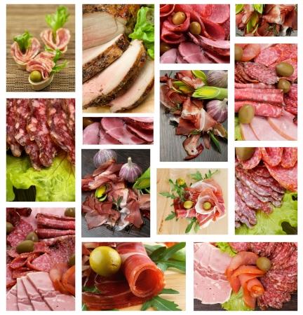 Colección de carne y salchichas con tocino, Hamon, Salchichone, carne asada, Salami, cerdo ahumado, verduras y aceitunas verdes Foto de archivo - 19682862