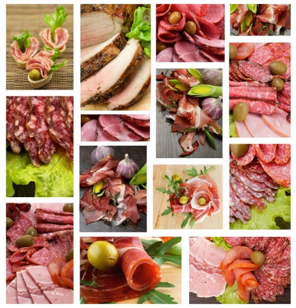 Collection of Meat and Sausages with Bacon, Hamon, Salchichone, Roasted Beef, Salami, Smoked Pork, Vegetables and Green Olives photo