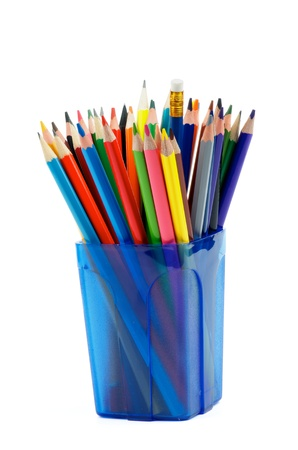 Bunch of Lead, Colored and Crayon Sharp Pencils in Blue Container isolated on white background photo