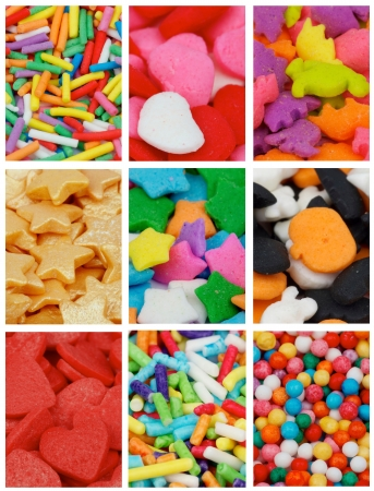 Collection of Cake Sprinkles with Jimmies, Stars, Hearts, Balls and Dino as Background photo