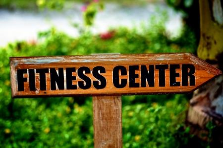 Wooden Sing  Fitness Centre  on Natural Environment background Stock Photo
