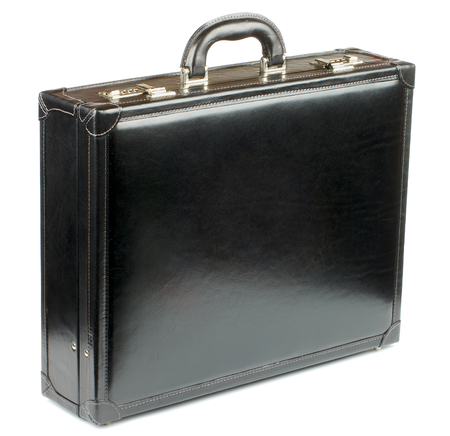 attache: Black Leather Briefcase with Gold Details isolated on white background