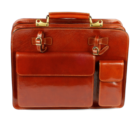 Elegant Ginger Leather Briefcase with Two Pockets and Bronze Details isolated on white background photo