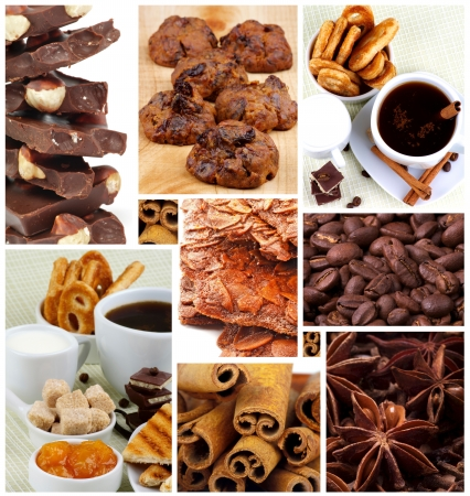 Collection of Coffee Cups, Chocolate, Pastry and Cookies, Coffee Beans and Spices closeup photo