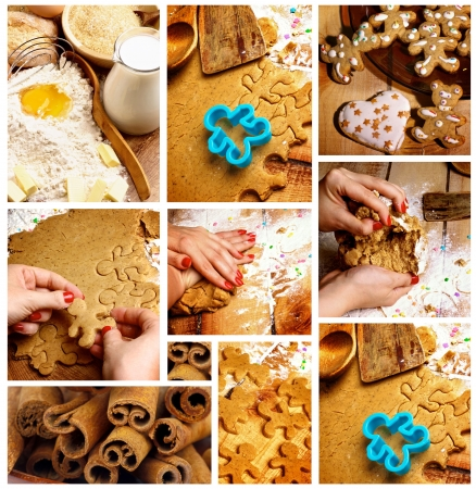 Collection of Preparing Gingerbread Cookies with Making Dough, Christmas Cookies and Ingredients  closeup photo
