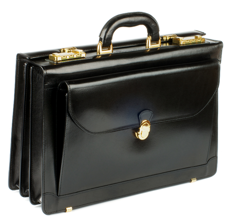 Black Leather Briefcase with Gold Details and Pocket with Lock isolated on white background Foto de archivo