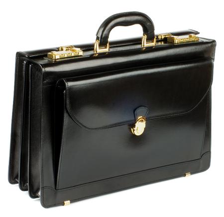 Negro Maletín de cuero con detalles de oro y de bolsillo con el bloqueo aislado en fondo blanco Foto de archivo - 24933297