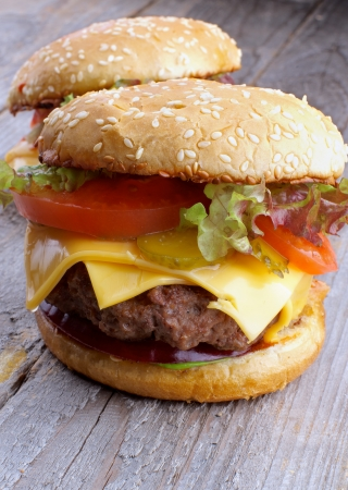Two Tasty Hamburgers with Beef photo