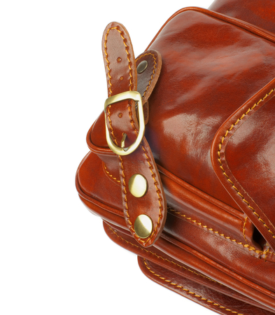 backstitch: Details of Ginger Leather Traveling Bag with Pocket, Fastener and Back stitch isolated on white background