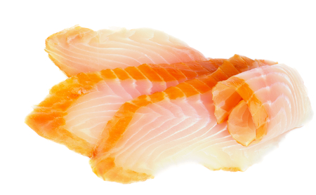Slices of Delicious Tasty Smoked Sturgeon isolated on white background