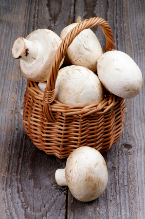 Big Raw Champignons in Wicker Basket isolated on Rustic Wooden  photo