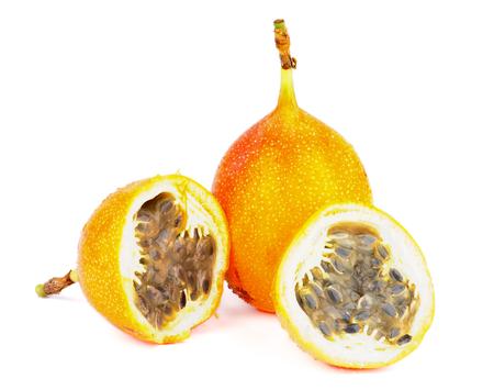 grenadilla: Fresh Ripe Grenadilla - Passion Fruit - Full Body and Halves isolated on white background