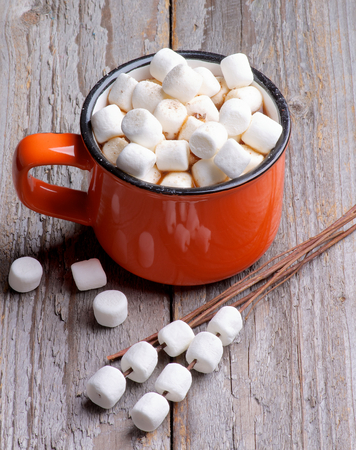 Orange Cup with Hot Chocolate and Marshmallows on Wooden Stems isolated on Rustic Wooden background photo