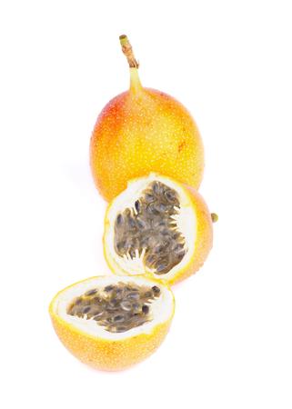 grenadilla: Ripe Grenadilla - Passion Fruit - Maracuya - Full Body and Two Halves isolated on white background Stock Photo