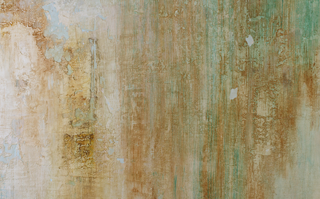Light Blue, Beige and Green Obsolete Cement Wall Background closeup Stock Photo