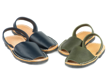 12 18 months: Baby Dark Blue and Marsh Color Leather Sandals Avarcas isolated on white background