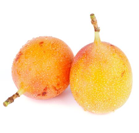 grenadilla: Two Ripe Grenadilla - Passion Fruit - Maracuya - Full Body isolated on white background