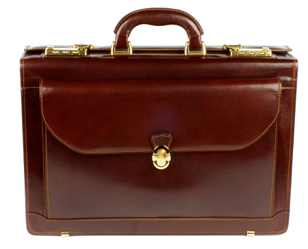 Brown Leather Briefcase with Pocket and Gold Details isolated on white background